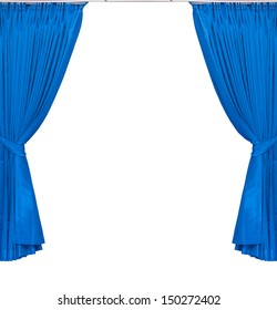 blue curtains on white background