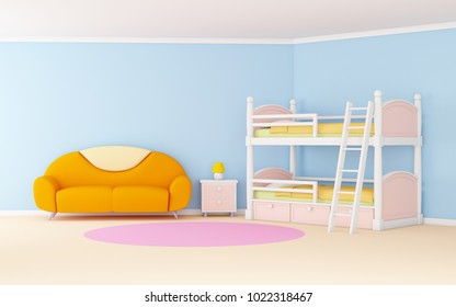 Blue cute cartoon interior with a bunk bed. 3d illustration