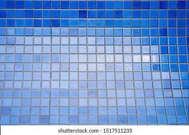 blue cyan Tile glossy mosaic Earthenware material in the bathroom