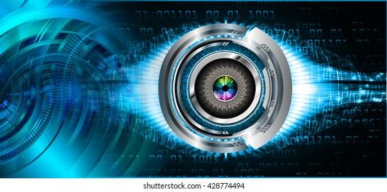 blue Cyber eye digital data technology background