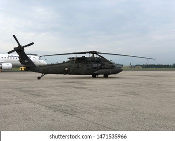 Blue Danube Airport Linz, Austria - July 2nd 2019 - S-70 BALCK HAWK in Hörsching, Linz, Austria. If you look closely you can see that this helicopter is from the UNITED STATES ARMY.
