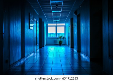 Blue dark  empty corridor with doors and sunlight from window in the end of the hall