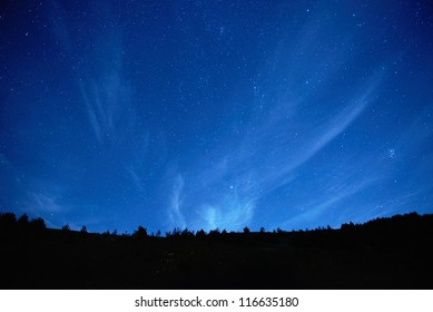 Blue dark night sky with many stars. Space background