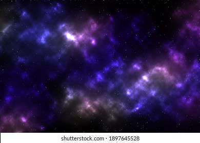 Blue dark night sky with many stars. Milky way on the space background.Planet in space