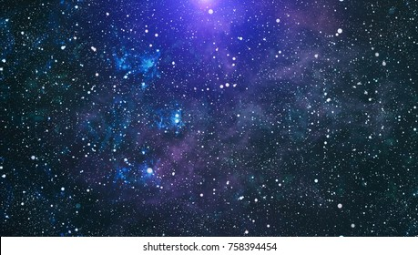 Blue dark night sky with many stars. Milky way on the space background .