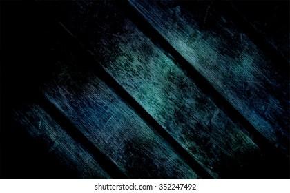 Blue dark wooden texture. Boards illuminated in center and edges in darkness. Horror grunge background. Thriller decoration. Mystery moon light illumination.
