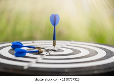 Blue dart on target of dart board over blurred natural green background, business marketing concept.