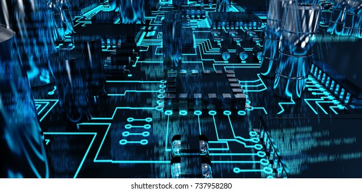 Blue data against close up of circuit board