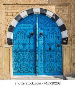 Blue decorated door in Sidi Bou Said, Tunis, Tunisia