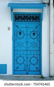 Blue decorated door in Sidi Bou Said, Tunis, Tunisia