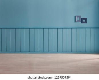 Blue decorative wall, background, parquet detail, lamp and frame style with vase of plant. Home decoration wall and background style.