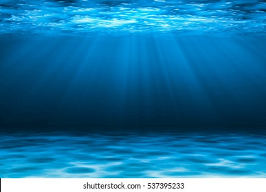 Blue deep water abstract natural background.