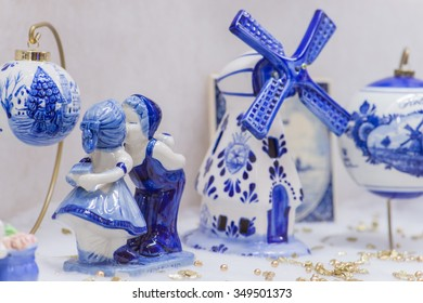 Blue Delftware Christmas tree toy Netherlands closeup (shallow DOF)