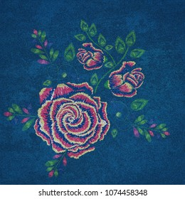 Blue denim generated texture with embroidered rose effect, illustration.