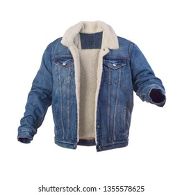 blue denim jacket with fur isolated