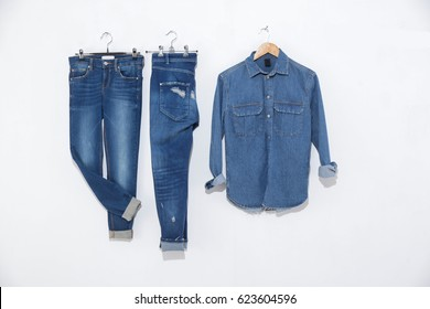 Blue denim jean and jeans shirt on hanging