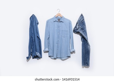 blue denim jean with Long sleeve blue shirt and jeans shirt on white background