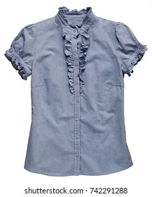 Blue denim jeans fabric T-shirt with ruffle detail on the neck and arms and small buttons for stylish fashion isolated on white