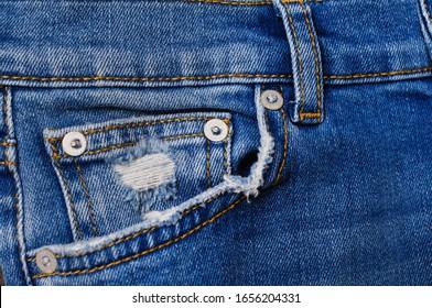 Blue Denim Jeans Pocket texture-front view