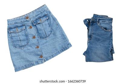 Blue denim mini skirt and denim jeans isolated on white background, Stylish Blue denim pants skirt isolated top view, Blue denim mini skirt over white background