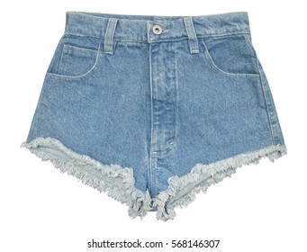 Blue denim shorts with pockets front isolated on white