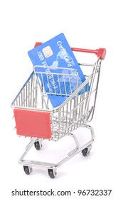 blue designed credit card in a shopping trolley