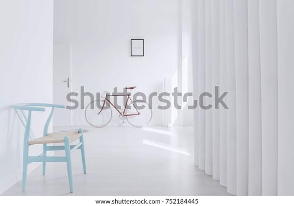 Superb Blue Designer Chair White Empty Corridor Stock Photo Edit Pabps2019 Chair Design Images Pabps2019Com
