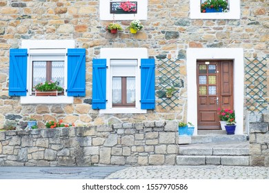 Blue details in the facades