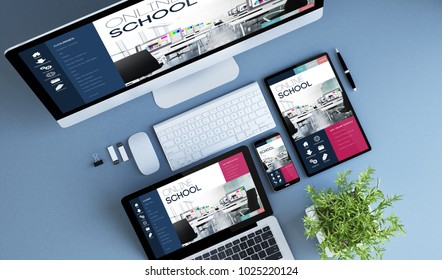 blue devices top view online school  3d rendering.