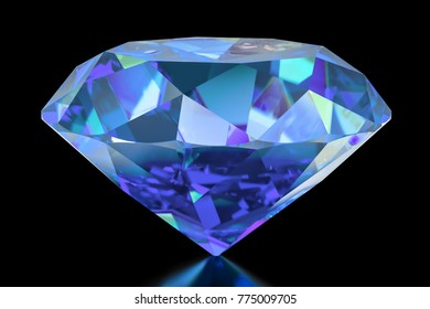 Blue Diamond, 3D rendering isolated on black background
