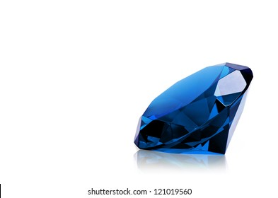 Blue diamond isolated on white background. Concept most precious beauty.