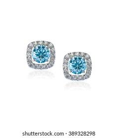 Blue Diamond stud earrings isolated on white