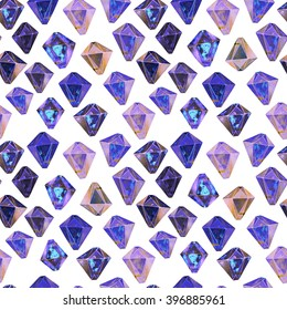 Blue diamonds. Watercolor illustration of crystals. Seamless gemstone pattern.