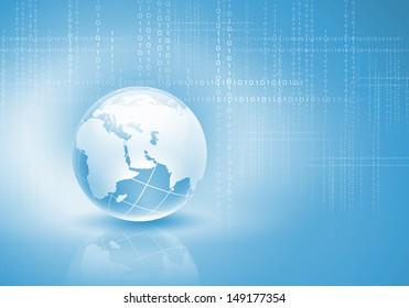 Blue digital image of globe. Background image