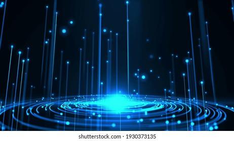 blue digital light source, equalizer sound waves, blue light drops