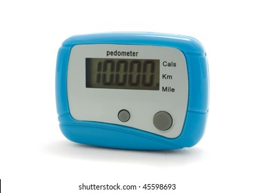 Blue digital pedometer displaying 10000 steps -  daily norm