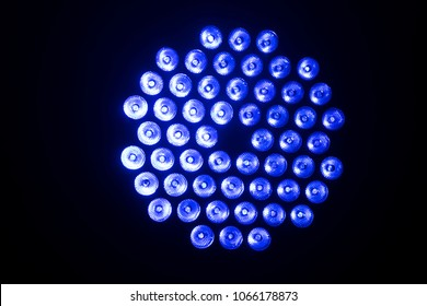 blue disco lights closeup