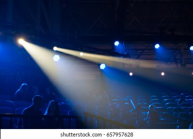 Blue disco lights on a club stage