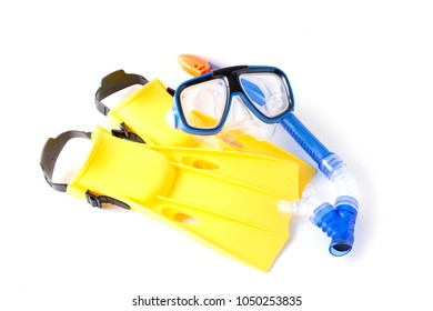 Blue Diving Mask, Snorkel and Swim flippers on white background