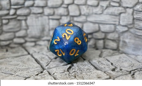 Blue DnD Dice on 3D Printed Dungeon Tiles