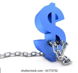 Blue dollar symbol in chains isolated over a white background