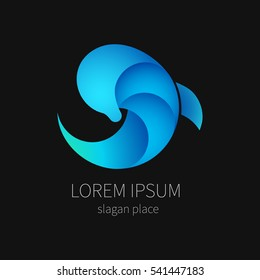 Blue dolphin on black background for company and business. Marine animal.