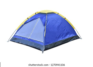 Blue dome tent for backpacker isolate on white background.