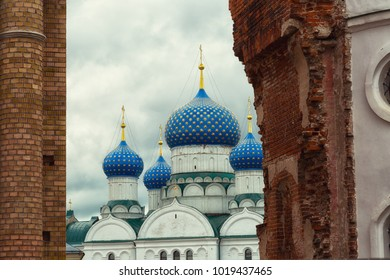 Blue domes of the Epiphany Monastery in Uglich, Russia