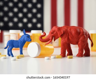 A blue donkey as a democrat and a red elephant as a republican are against an American flag with prescription pill bottles for a medical cost concept.
