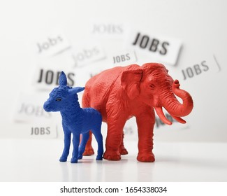 A blue donkey and a red elephant are against a white wall that has job text in the background for a 2020 political issue of employment rate and the economy.