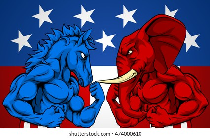 A blue donkey and red elephant fighting.