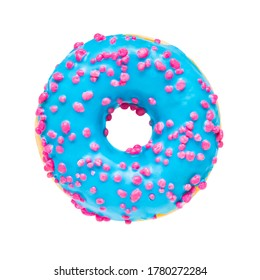 Blue donut isolated over white background with clipping path. Top view, copy space