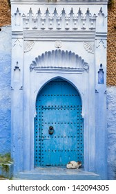 Blue door with cat in chaouen