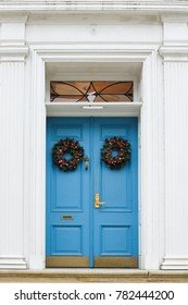 Blue door with Christmas wreath